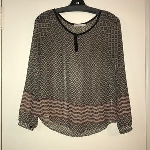 Sheer patterned long sleeve top
